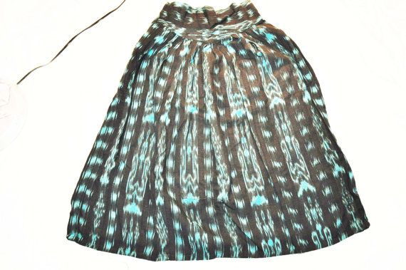 Turquoise and black skirt with ikat design from by ShirasSalon