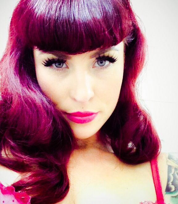 Purple Pink Hair. Bettie Bangs. Gorgeous!