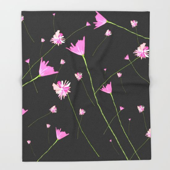 Flowers in the Night II Throw Blanket