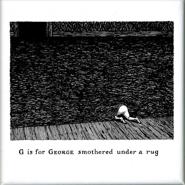 GoreyStore.com G is for George smothered under a rug Square Magnet