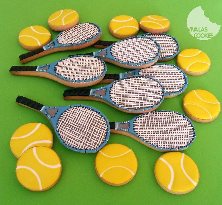 Tennis racket cookies, Galletas raqueta de tenis, by www.vivalascookies.com
