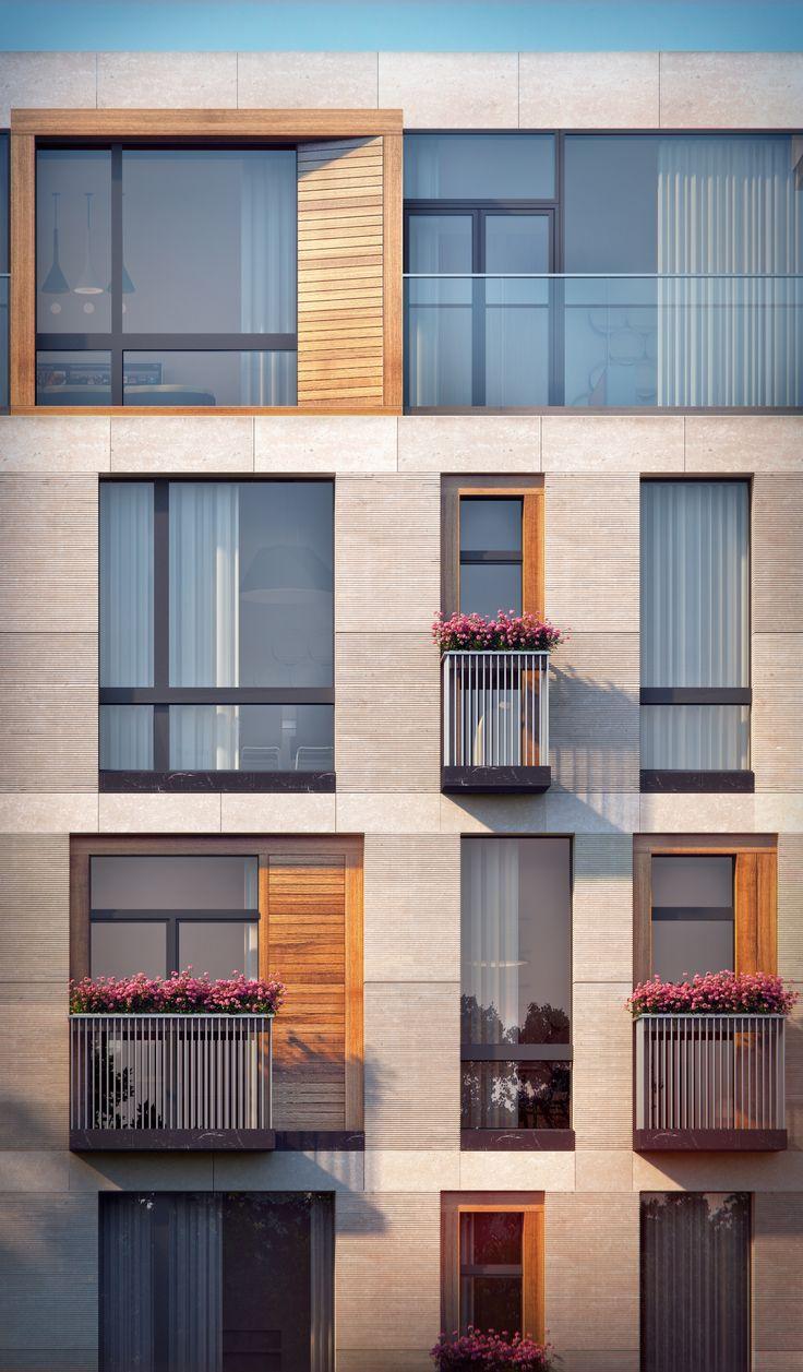 Жилой дом на Малой Ордынке. Фрагмент главного фасада. Проект, 2016 © ADM