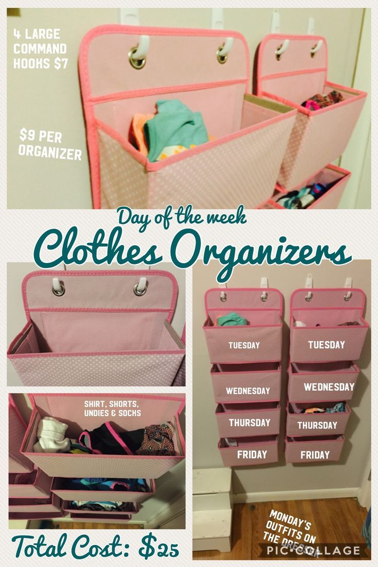 Days Of The Week Organizer For Kids Clothing Perfect Height For My 7 Year Old But Needed Kids Clothes Storage Kids Clothes Organization Clothes Organization