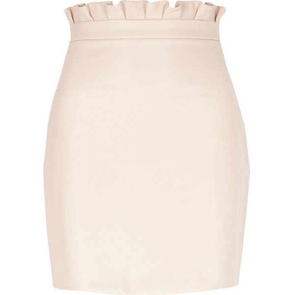 River Island Light pink paperbag faux leather mini skirt ($60) ❤ liked on Polyvore featuring skirts, mini skirts, pink, women, pink faux leather skirt, high-waisted skirt, pink mini skirt, short pink skirt and short skirts