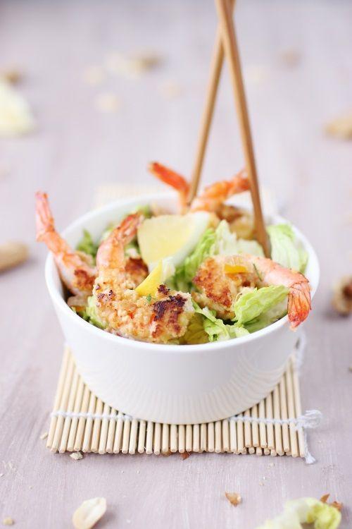 Salade de gambas panées aux cacahuètes - Chefnini