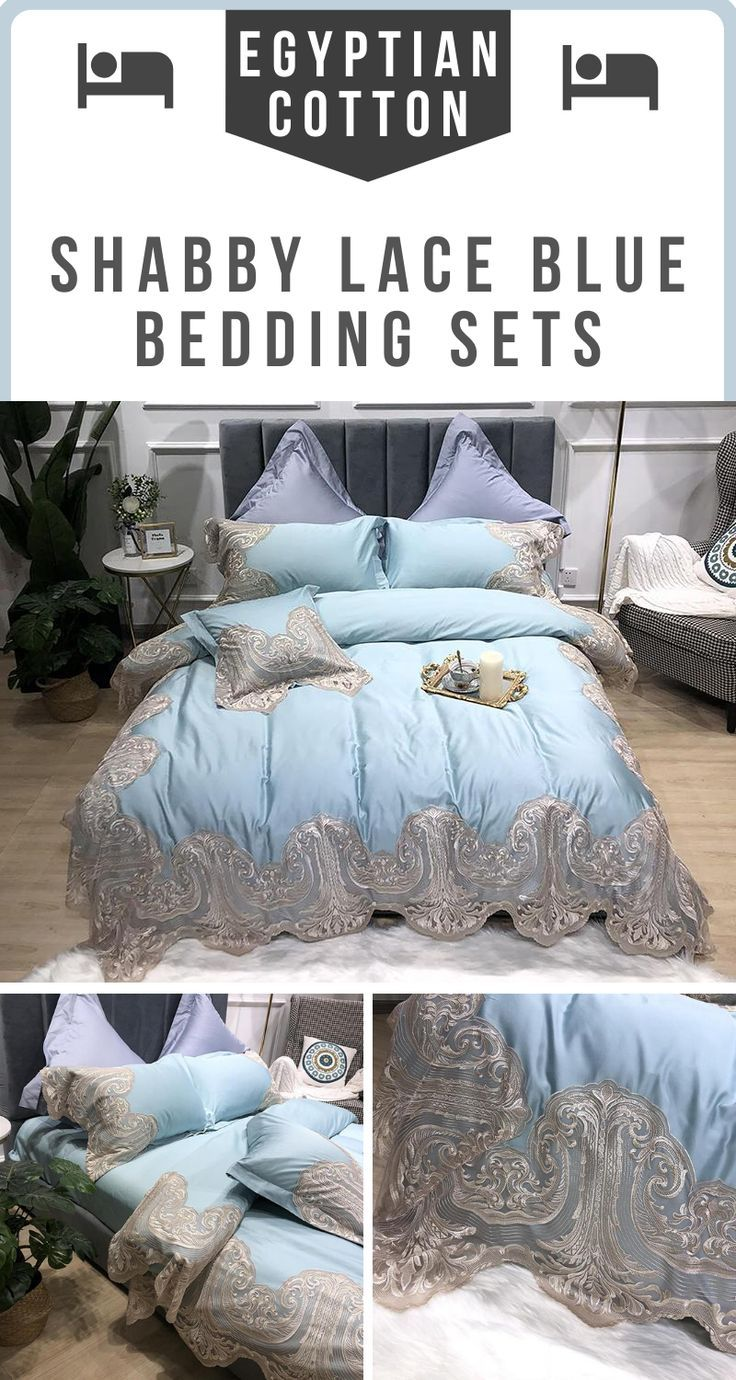 Egyptian Cotton Ultra Soft Blue Lace Bedding Set In 2020 Lace Bedding Set Lace Bedding Blue Bedding Sets