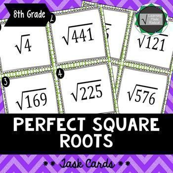 Perfect Square Root Task Cards These task cards can be utilized in numerous ways in a classroom to help a student have a better grasp on these perfect square roots. This listing comes with a set of task cards that are numbered and include set of task card