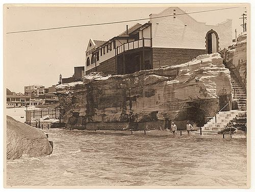 Giles's Hot Sea Baths, Coogee, c. 1930s, by Sam Hood. The bathhouse is no longer there but the swimming spot is lovely. You'll recognise the stairs at the very north end of Coogee bay