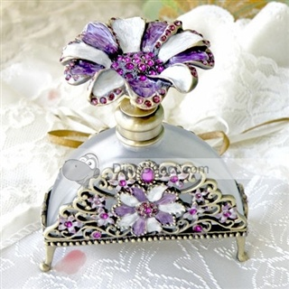 Floral Rhinestone Glass Perfume Bottle -