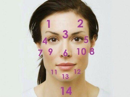 Plotse veranderingen in het gezicht kunnen een teken zijn dat er iets niet helemaal goed is in ons lichaam. Welk gebied verwijst naar welk lichaamsdeel?
