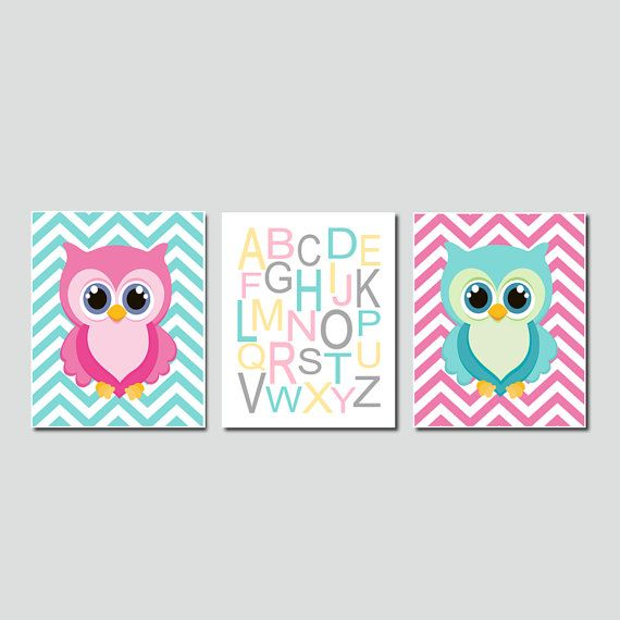 Baby Girl Nursery Art Owl Nursery Decor Owl Wall Art Pink Gray Nursery Chevron Alphabet Letters Set of 3 Prints Or Canvas - Choose Your Colors  ★Includes 3 pieces of wall art Available in PRINTS or CANVAS (see below)  ★SIZING OPTIONS Available from the drop down menu above the add to cart button with prices  ★PRINT OPTION Available sizes are 5x7, 8x10, & 11x14 (inches). Prints are created digitally and printed with UltraChrome Hi-Gloss ink on professional 68lb satin luster photo paper…
