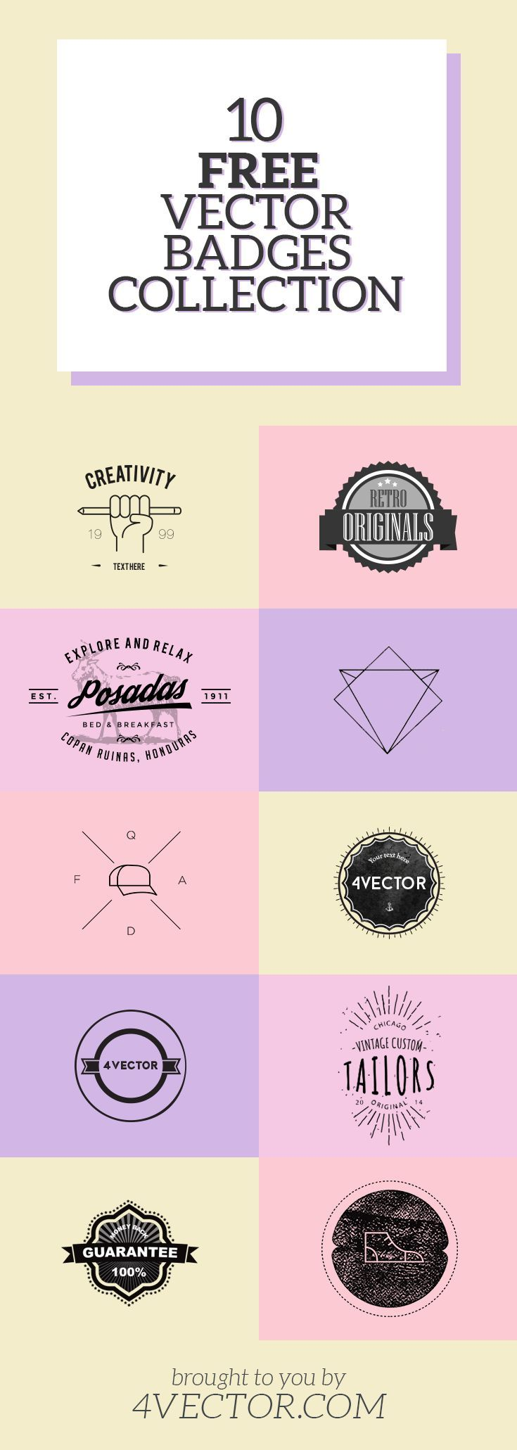 Looking for free vector badges? You're in luck! We have compiled a list of hand-picked awesome vectors that you can use in your designs... for FREE! Check out more free vector graphics at 4vector.com