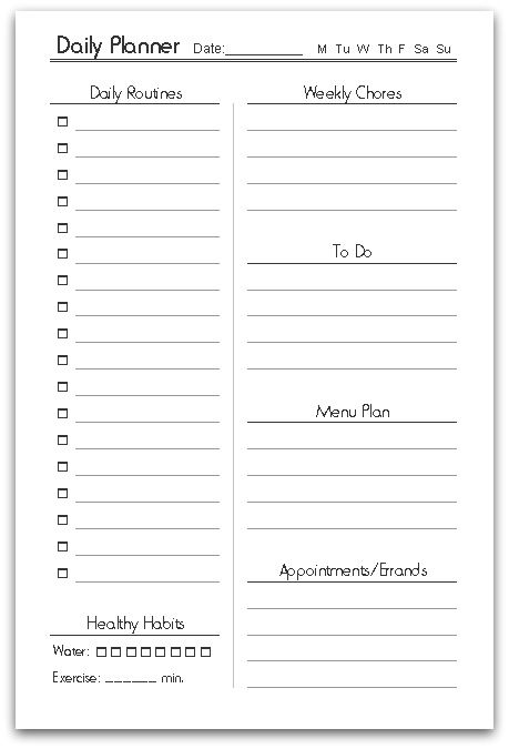 Free Printable Half-Size Daily Planner