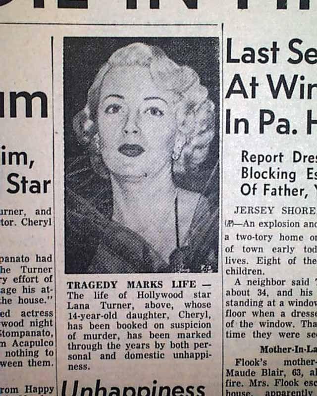 Lana Turner Daughter Cheryl Crane Murders Johnny Stompanato 1958 ...