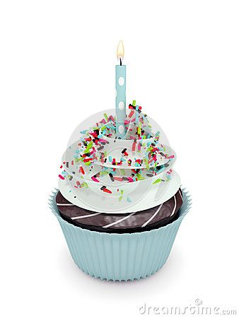 3d sweet cupcake with candle  on white background