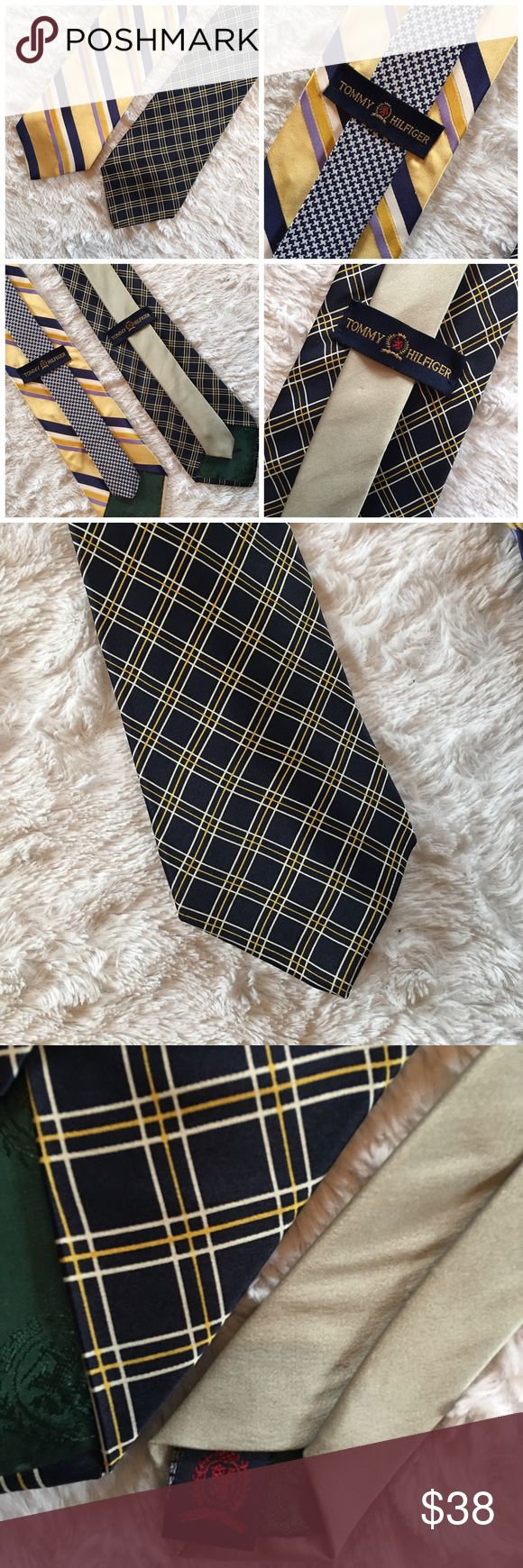 """Vintage •!TOMMY HILFIGER • Silk Tie Bundle Vintage Tommy Hilfiger 💯% Silk Ties • Imported Fabric • Made in USA • Yellow>> Approx: 3.5"""" x 60"""" Blue>> Approx: 4"""" x 62 • Blue Tie would be considered Extra-Long Tommy Hilfiger Accessories Ties"""