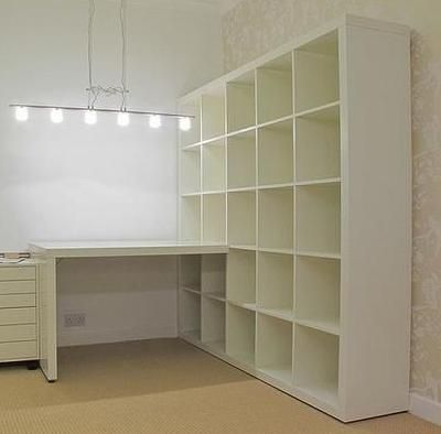 Desk attached with open shelves, with pretty wallpaper