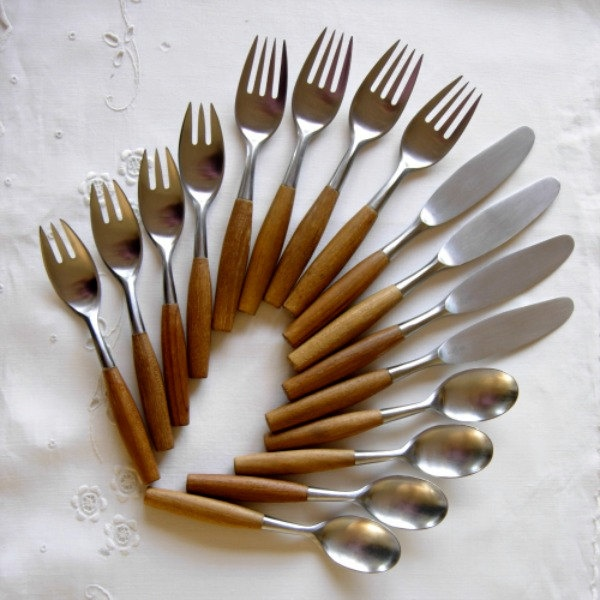 Vintage Dansk Fjord Teak Handle Flatware 16 Pieces. $320.00, via Etsy.