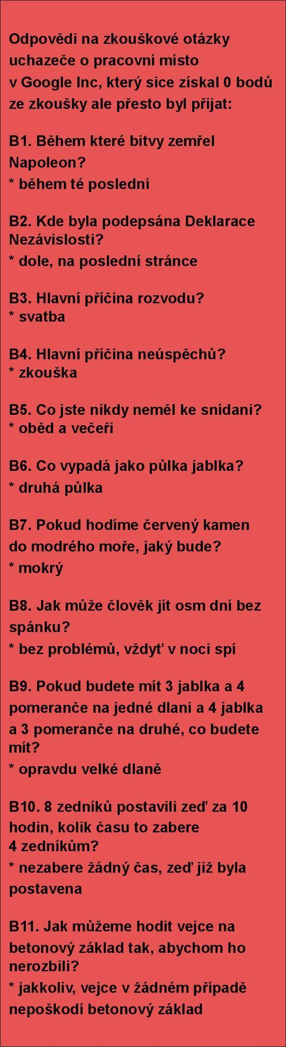 Odpovědi na zkouškové otázky uchazeče o pracovní..   torpeda.cz - vtipné obrázky, vtipy a videa
