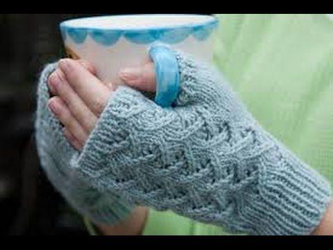 How To Knit Fingerless Gloves For Beginners - YouTube