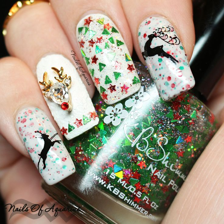 KBShimmer Holly Back Girl, KBShimmer White Here, White Now, KB Shimmer Pine-ing for Yule, MoYou London Festive 01, Bundle Monster BM-H01 >> awesome Christmas nails from Nails of Aquarius