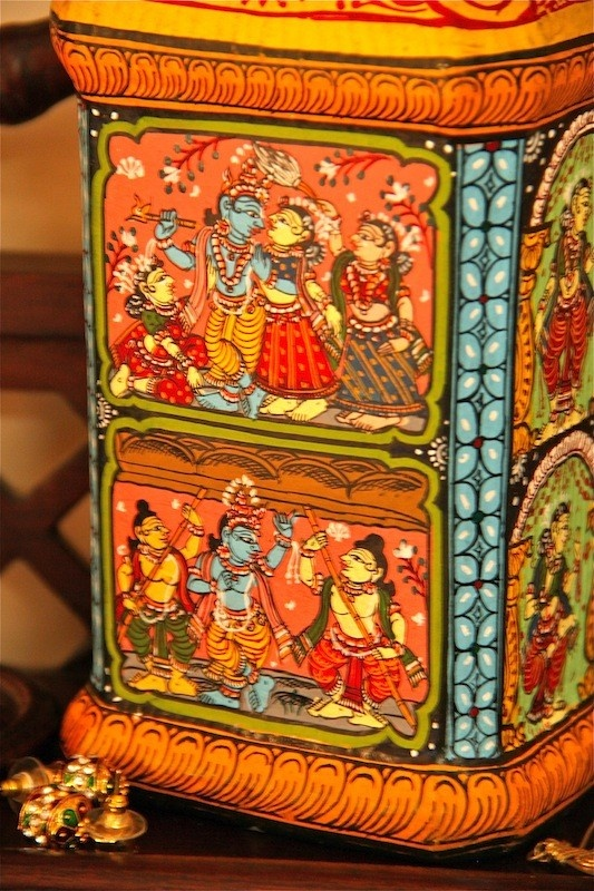 Recycled bottle with very intricately hand painted Pattachitra art