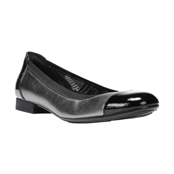 Women's Naturalizer Therese Ballet Flat ($89) ❤ liked on Polyvore featuring shoes, flats, black skimmer, naturalizer flats, metallic ballet flats, black flat shoes and ballet pumps