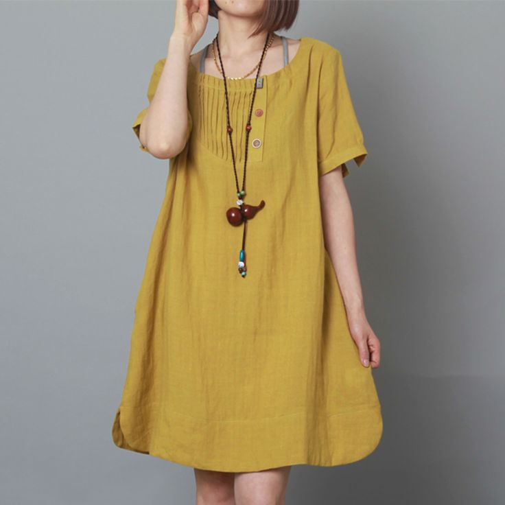 Yellow linen dress summer shift dress plus size sundress