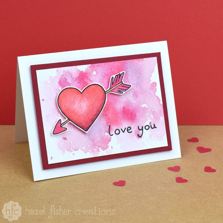 Quick and Easy Watercolour Valentine Card by hazel fisher creations. Click through to find out how to make this card!