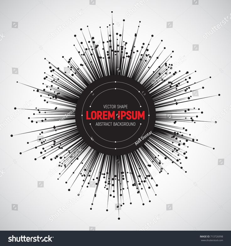 Technology Round 3D Vector Black Banner. Tech Bright Background. Radial Composition Abstract Art Illustration