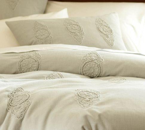 Dora Embroidered Duvet Cover & Sham | Pottery Barn, master bedroom with custom pillows