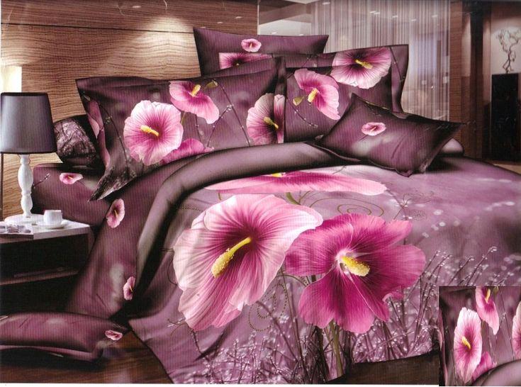 Fioletowe pościele 3D w różowe kwiaty