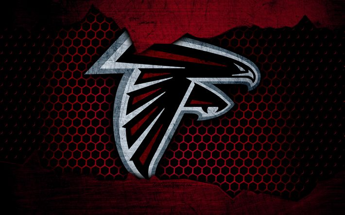 Download wallpapers Atlanta Falcons, 4k, logo, NFL, american football, NFC, USA, grunge, metal texture, South Division