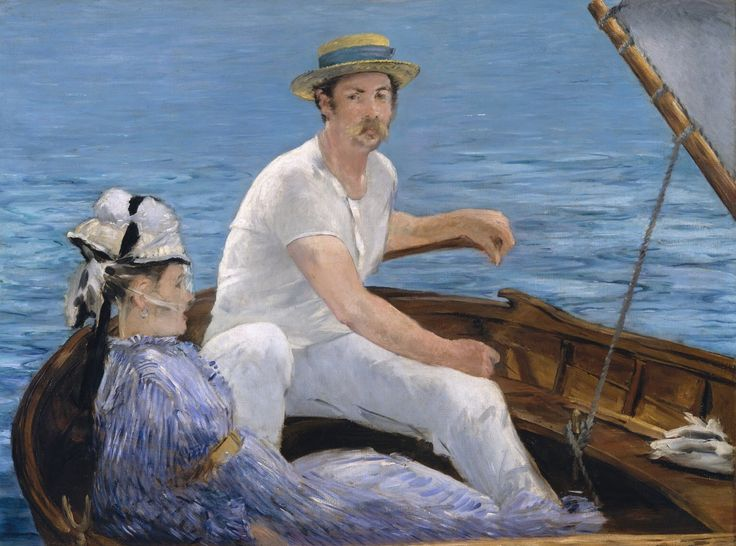 """Edouard Manet (1832-1883) summered at Gennevilliers in 1874, often spending time with Monet and Renoir across the Seine at Argenteuil, where """"Boating"""" was painted. Beyond adopting the lighter touch and palette of his younger Impressionist colleagues, Manet exploits the broad planes of color and strong diagonals of Japanese prints to give inimitable form to this scene of outdoor leisure. (image at metmuseum.org) (""""Boating"""" by Manet)"""