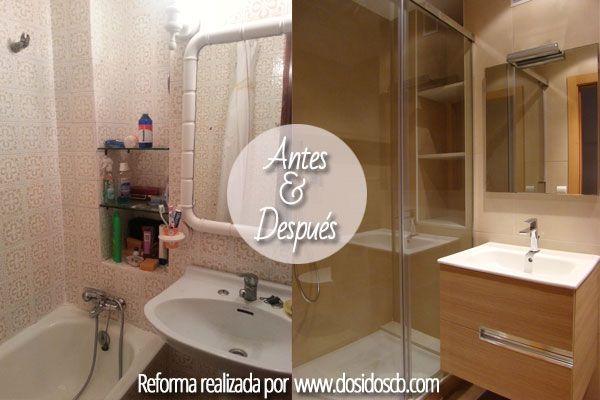 Reforma ba o antes despu s ducha y lavabo antes y despues pinterest - Reformas sin obras ...