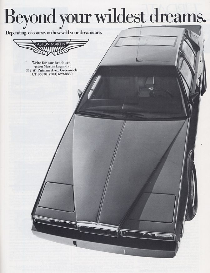 The 1980s Aston Martin Lagonda - less dream than the stuff nightmares are made of. No wonder Bond switched to Lotus in the late 70's.