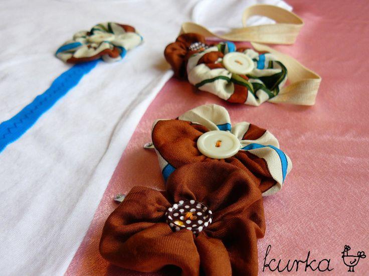 komplet handmade by kurka - turkus brąz