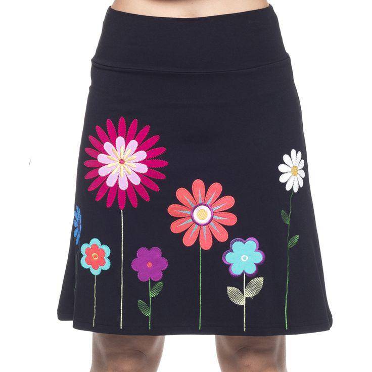 Falda mujer GIRASOL. Falda de corte trapecio con bordado de flores lineales en contrastes de color.