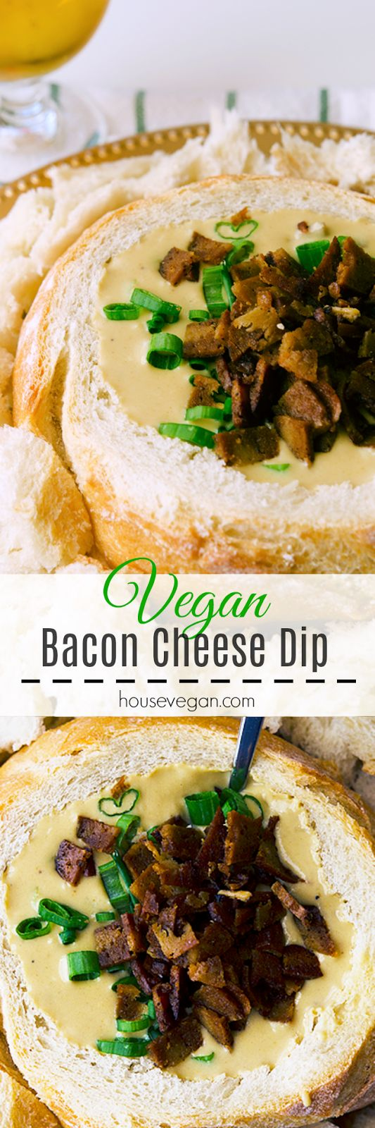 Vegan Bacon Cheese Dip - A super easy and creamy dip to satisfy guests with minimal effort. Perfect for chill dinner parties, the Big Game, and more. Click here for the recipe, or pin this for later <3