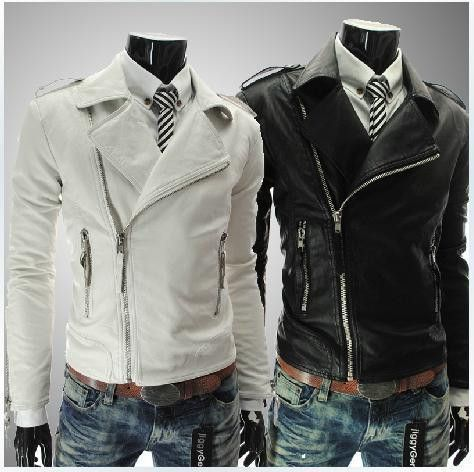 New personality zipper men's faux Leather