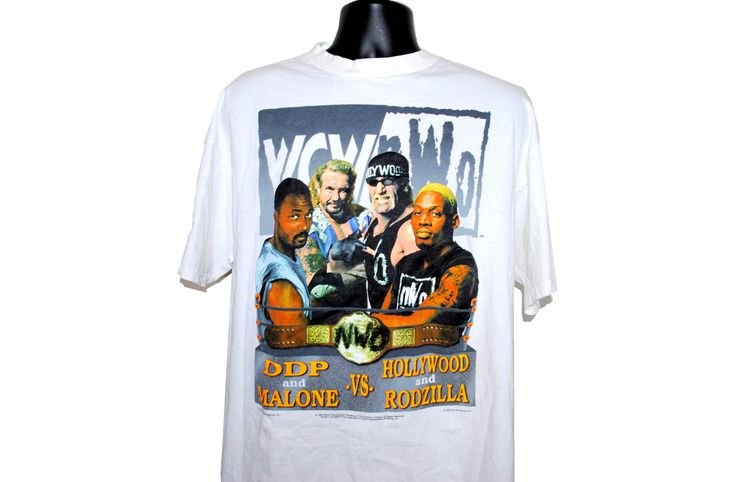 1998 Karl Malone + Diamond Dallas Page Vs Rodzilla + Hollywood Hogan Rare Vintage 90's WCW Bash At The Beach Promo T-Shirt