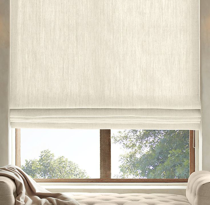 Restoration hardware and Shade store offer flat panel roman shades which are an alternative to a drape.   Textured Belgian Linen Flat Roman Shade