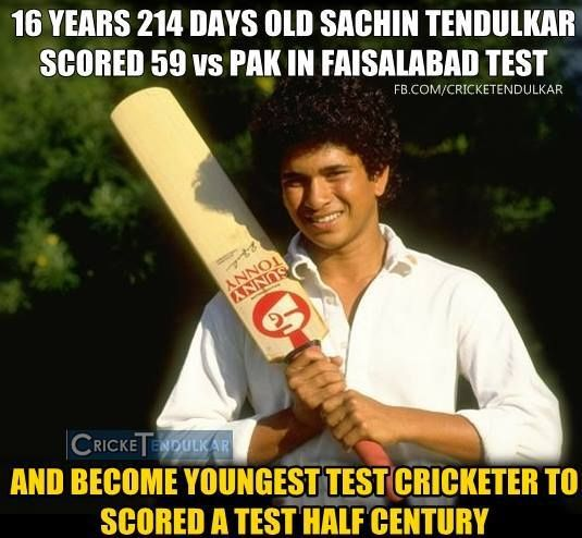Sachin Tendulkar at 16 years 214 days, became the youngest man to make a Test half-century when he scored 59 in the 2nd Test between India and Pakistan at Faisalabad.