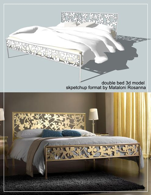 SKETCHUP TEXTURE: SKETCHUP 3D MODEL DOUBLE BED #1