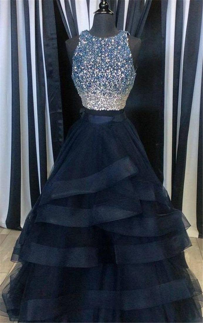 3b3ebc29bf2d Luxury Rhinestones Beaded Two Piece Prom Dress,Puffy Ruffled 2 Piece Prom  Dresses Long,Navy Blue Prom Dress,Ever Pretty Prom Dresses