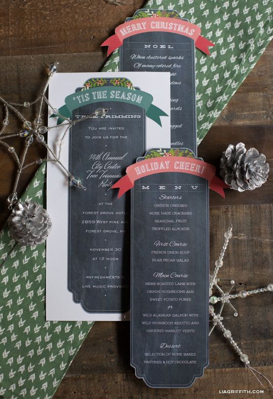 'Tis the Season Chalkboard Templates for #Christmas and the holidays!  You can even use the green blank template for your #thansgiving menu   ||  Free printables designed and graciously given by @lia griffith  Lia Griffith... She is amazing!