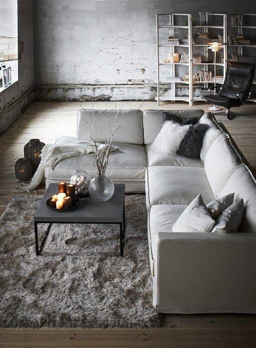 Cloud 3-sits soffa med divan i tyg Das white från Mio.