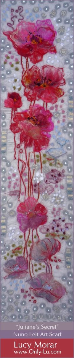 """Juliane's Secret"" Nuno Felt Art Scarf by Lucy Morar"