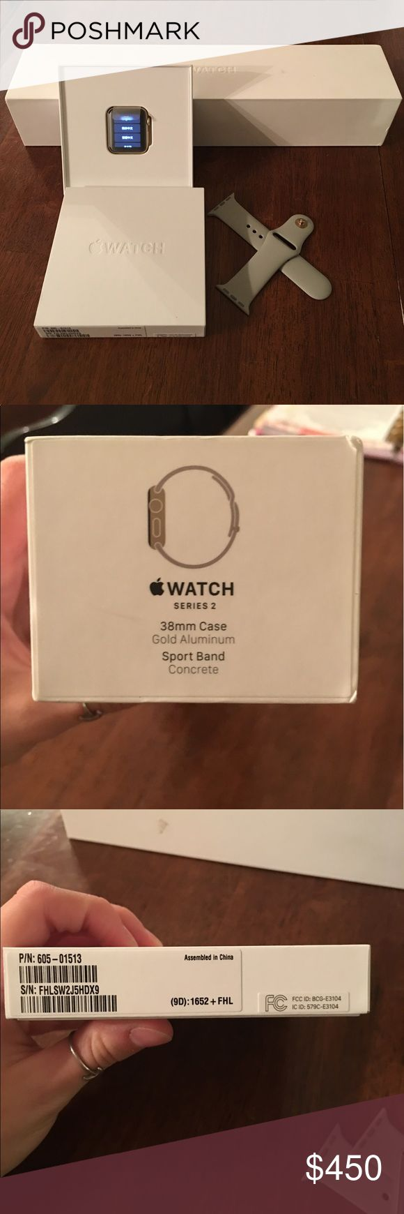 Apple Watch Series 2 Series 2 38mm. I will not sell through here, 🅿️🅿️ or merc only! Due to fees! I bought it and wore it twice, dropped it on tile floor and shattered the screen. I sent it to be replaced and when I picked it up they said was beyond repair so I was getting a new one for the cost of the repair ($229 + tax) so it is a brand new Watch. I decided I wanted the rose gold one instead. It comes with the original box, the new box (smaller one in picture), original band, and…