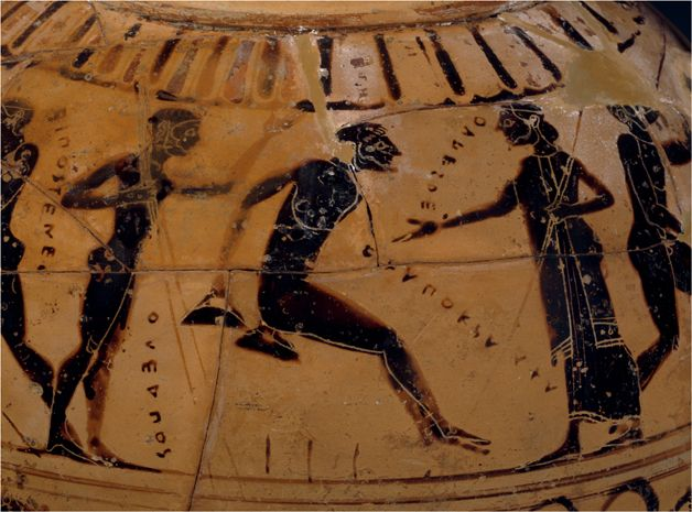 World History Facts — Ancient Greek amphora showing a long jumper. The...